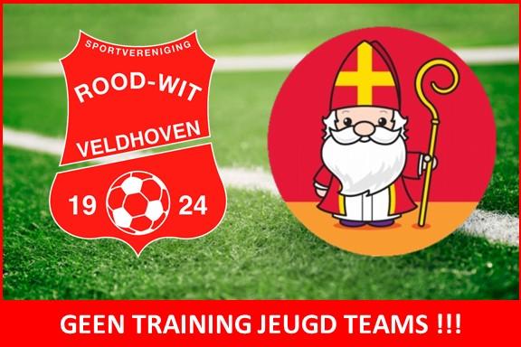 Geen training voor jeugd teams op 5 december